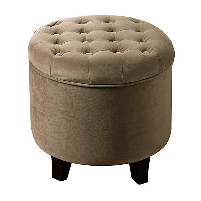 Tan Tufted Velvet Storage Ottoman