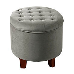 Gray Tufted Velvet Storage Ottoman