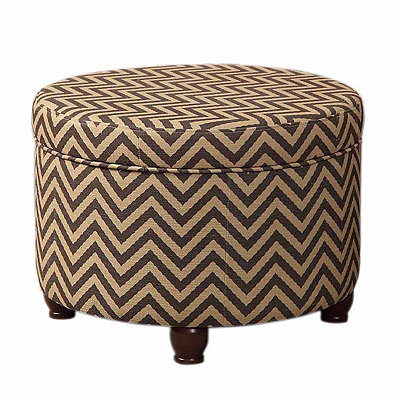 Brown Chevron Storage Ottoman