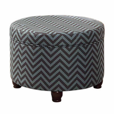 Gray Chevron Storage Ottoman