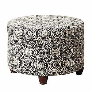 Black and White Medallion Storage Ottoman