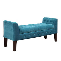 Turquoise Velvet Tufted Storage Bench