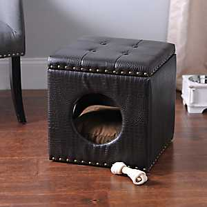Brown Faux Alligator Leather Ottoman Pet Bed