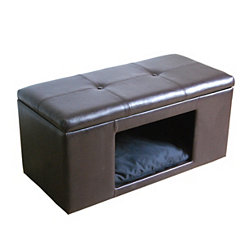 Brown Faux Leather Pet Bed Bench