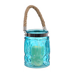 Embossed Aqua Glass Lantern
