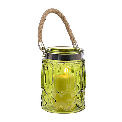 Embossed Green Glass Lantern