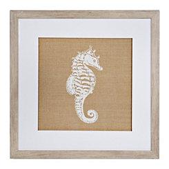 Burlap Seahorse Framed Art Print
