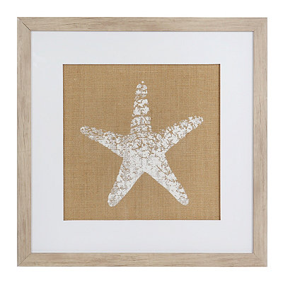 Burlap Starfish Framed Art Print