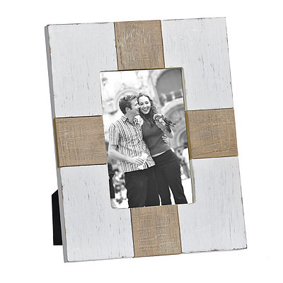 Natural Charm White Wood Plank Picture Frame, 4x6