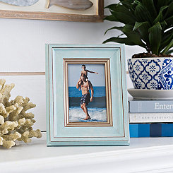 Natural Charm Aqua & Gold Picture Frame, 4x6