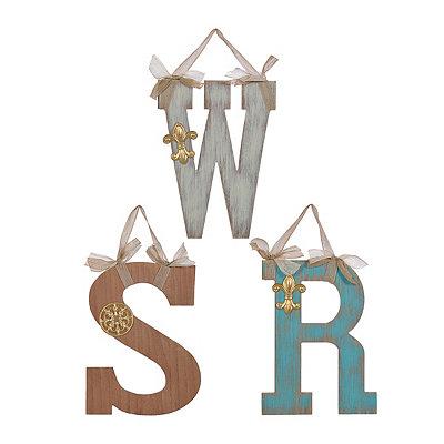 Wood Monogram Letter Plaques