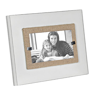 White Burlap Wooden Picture Frame, 3x5