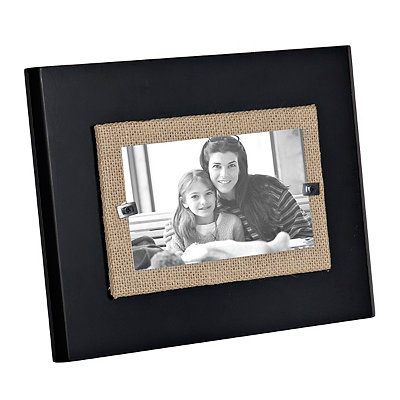 Black Burlap Wooden Picture Frame, 3x5