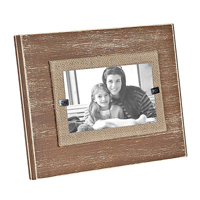 Natural Wood and Burlap Picture Frame, 3x5