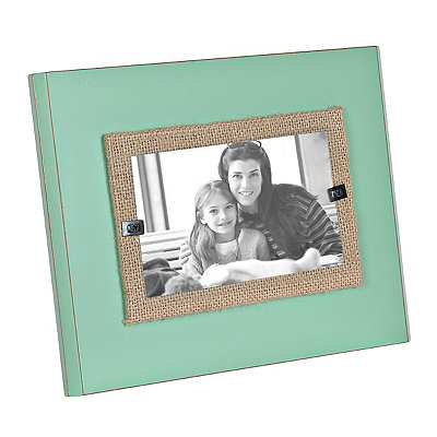 Turquoise Wood and Burlap Picture Frame, 3x5
