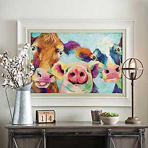 Barnyard Selfie Framed Art Print