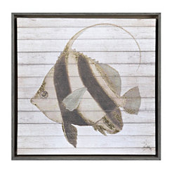 Striped Fish I Framed Canvas Art Print