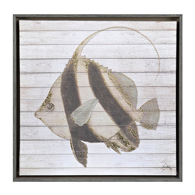Striped Fish I Framed Canvas Art Print