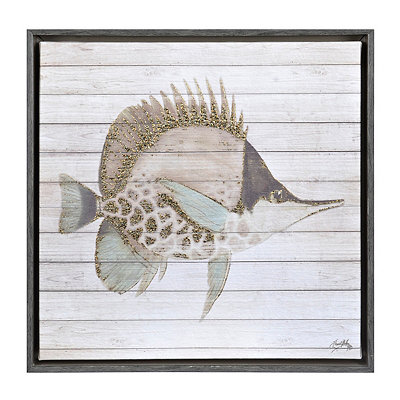 Striped Fish III Framed Canvas Art Print
