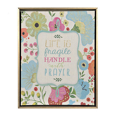 Floral Prayer Framed Canvas Art Print