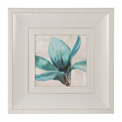 Turquoise Floral Stem I Framed Art Print