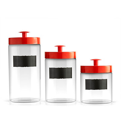 Red Chalkboard Canisters, Set of 3
