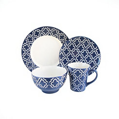 Navy Quatrefoil 16-pc. Dinnerware Set