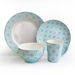 Teal Quatrefoil 16-pc. Dinnerware Set