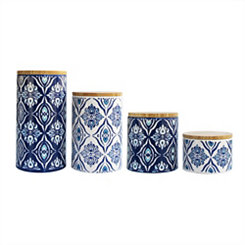 Blue and White Pirouette Canisters, Set of 4