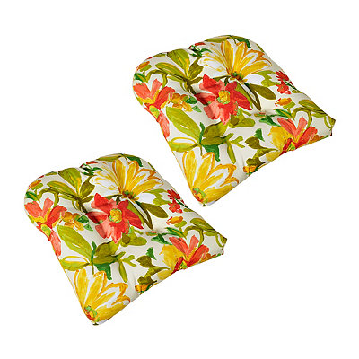 Painted Flowers Outdoor Cushions, Set of 2