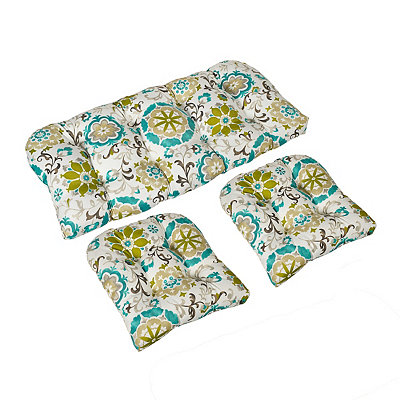 Teal Primavera Floral Outdoor Cushions, Set of 3