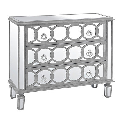 Silver Olivia Circles Mirrored Chest