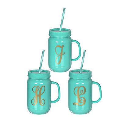 Turquoise Mason Jar Monogram Tumbler