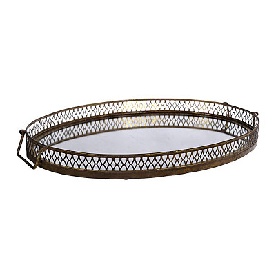 Gold Oval Mirrored Tray