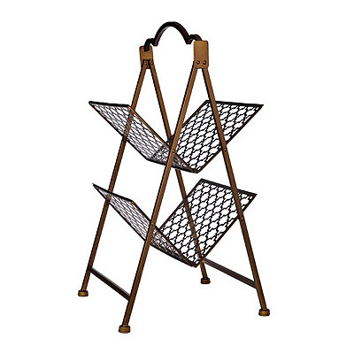 Bronze Quatrefoil 2-Tier Magazine Rack