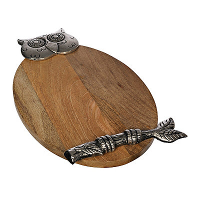 Metal and Wood Owl Cutting Board