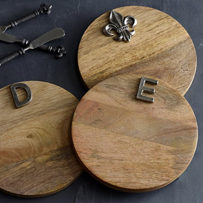Round Monogram Wood Cutting Board