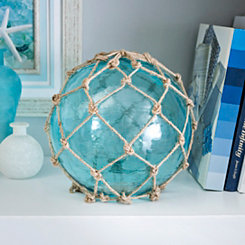 Turquoise Buoyant Glass and Rope Sculpture