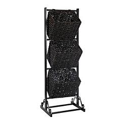 Black 3-Tier Metal Basket Tower