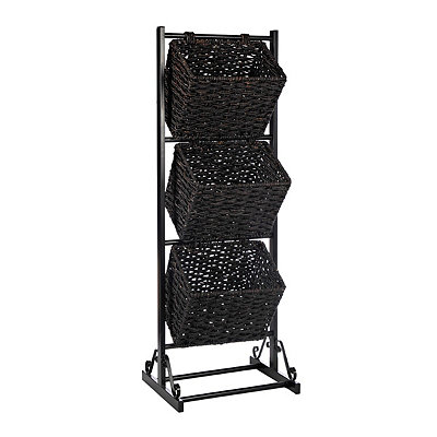 Black 3-Tier Metal Basket Tower