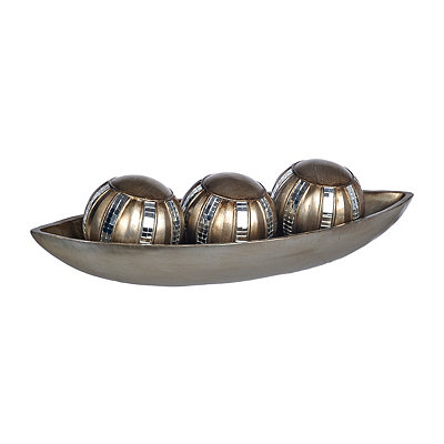 Champagne Mirrored Mosaic Orbs and Tray, Set of 4