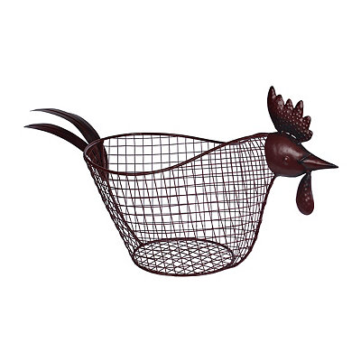 Distressed Red Rooster Basket