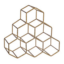 Gold Stacked Hexagon Wine Rack