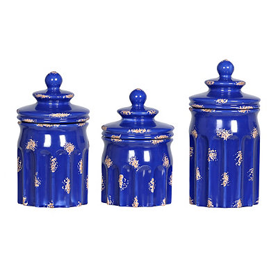 Distressed Cobalt Ribbed Canisters, Set of 3