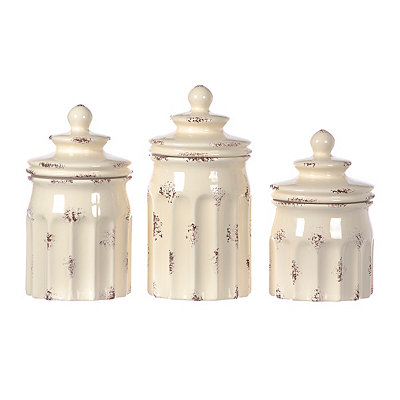 Distressed White Ribbed Canisters, Set of 3