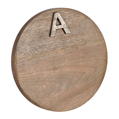 Round Monogram A Wood Cutting Board