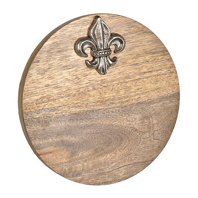 Round Fleur-de-lis Wood Cutting Board