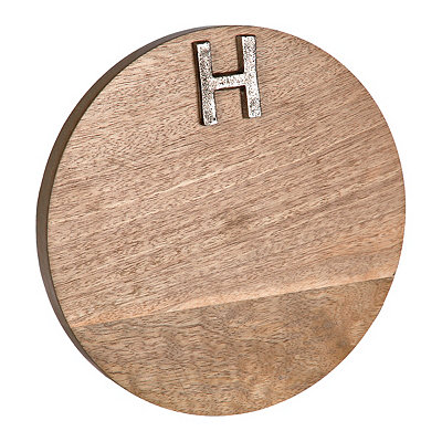 Round Monogram H Wood Cutting Board