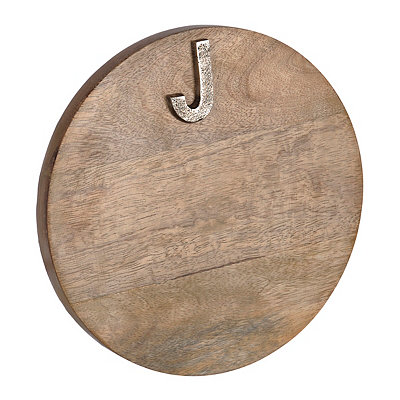 Round Monogram J Wood Cutting Board