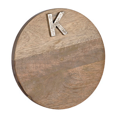 Round Monogram K Wood Cutting Board
